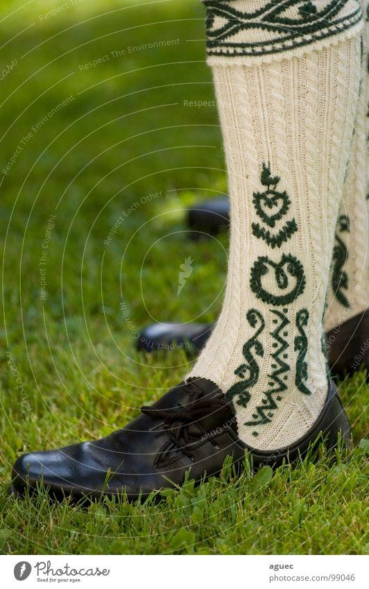 Fesche Wadln grün schwarz Gras Fuß Schuhe Beine Kunst Seil stehen Dekoration & Verzierung Kultur Bayern Muster Tradition beige vertikal