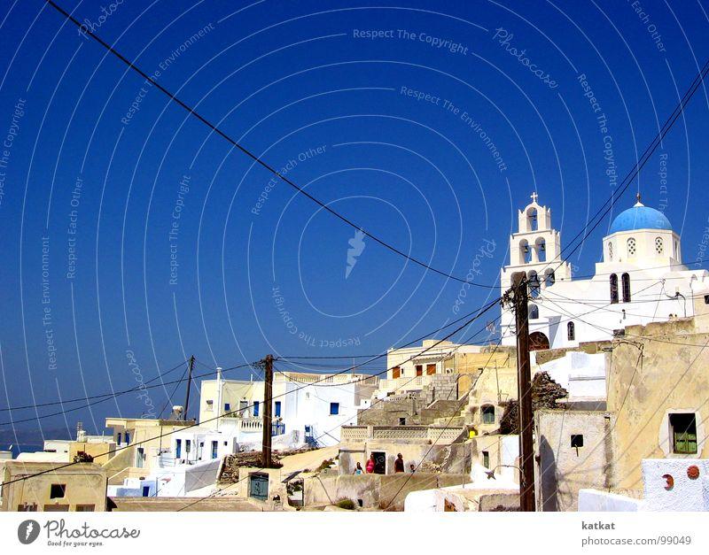 Pyrgos auf Santorini weiß Griechenland Elektrizität Ferien & Urlaub & Reisen Dorf Europa Kunst Kunsthandwerk Sommer blau Himmel pyrgos Ausflug Amerika