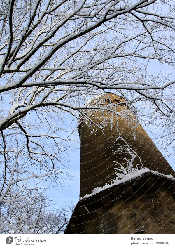 Stockwerk | ganz oben Winter Schnee Himmel Wetter Baum Burg oder Schloss Turm alt hoch blau weiß Frost Gemäuer Spaziergang eckig Holz Stein Mauerstein Wald Ast