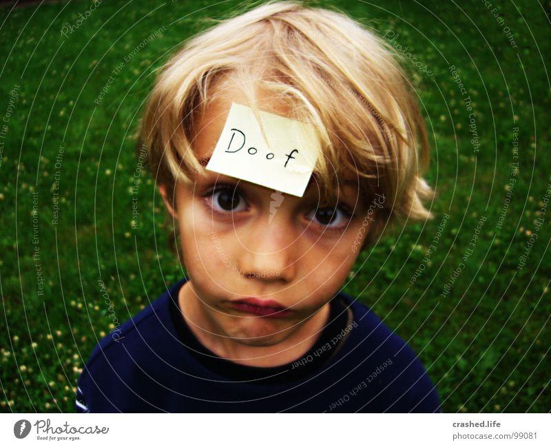 Doof II Kind grün Gesicht Auge Gras Haare & Frisuren Mund blond Nase T-Shirt Ohr dumm Zettel grasgrün