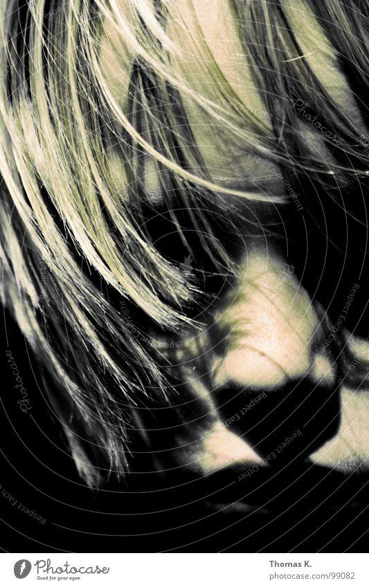 Wind Kind Gesicht dunkel Junge Haare & Frisuren Mund Wind Nase mystisch Haarsträhne