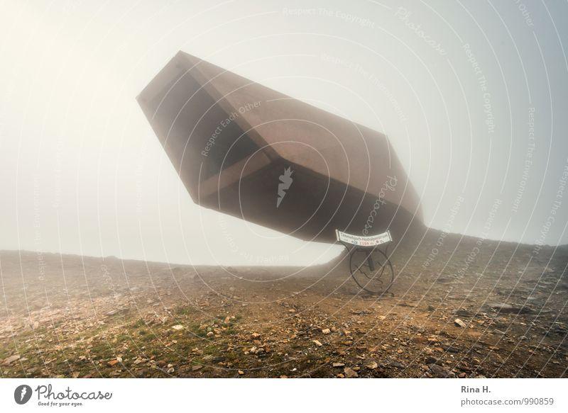 Ausserirdisch Urelemente Erde Horizont Sommer schlechtes Wetter Nebel Alpen Berge u. Gebirge Österreich Timmelsjoch Pass Bauwerk Gebäude außergewöhnlich