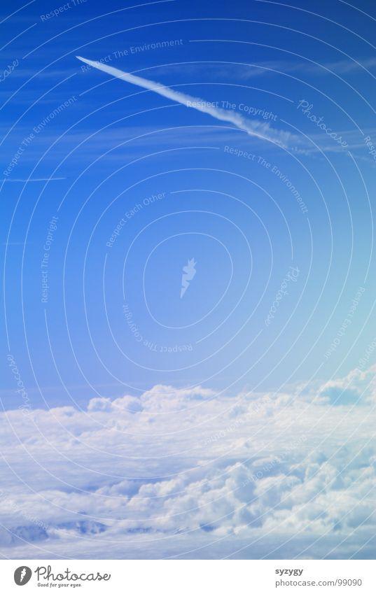 Skyrider Himmel blau Ferien & Urlaub & Reisen ruhig Wolken Ferne Flugzeug Geschwindigkeit Luftverkehr Aussicht Flughafen Düsenflugzeug Watte Zuckerwatte über den Wolken