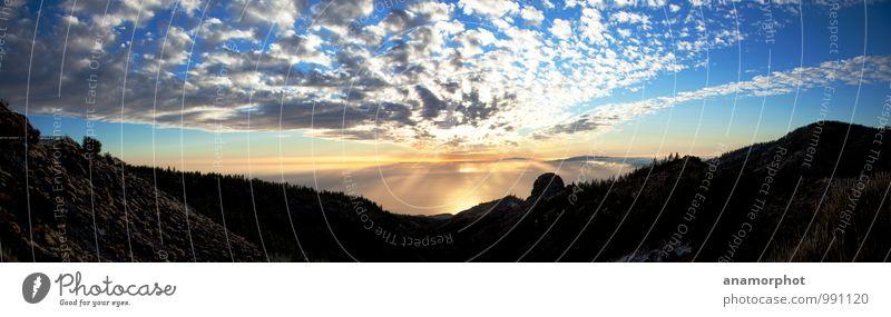 Sunset to La Gomera Himmel Ferien & Urlaub & Reisen Sommer Sonne Erholung Meer Landschaft Wolken Berge u. Gebirge Gefühle Glück Stimmung Horizont Erde