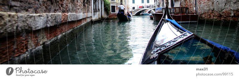 weit und breit nur Wasserstrassen! Wasserfahrzeug Italien Panorama (Bildformat) Venedig Kanal Gondel (Boot) Bootsfahrt geradeaus Wasserstraße Canal Grande