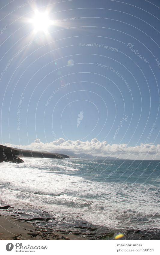 sonne und mehr - 02 Meer Fuerteventura Kanaren Wellen Sommer Ferien & Urlaub & Reisen Sonnenstrahlen Brandung Strand Schaum Himmelskörper & Weltall Wasser