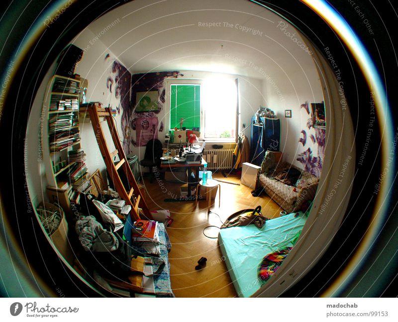 HOME SWEET HOME Haus Leben Fenster Wand Druckerzeugnisse Raum sitzen dreckig Wohnung Ordnung liegen Innenarchitektur Lifestyle Fischauge Sträucher