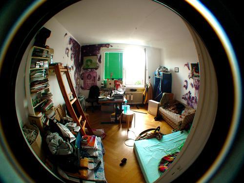 Studenten-WG Chaos Unordnung WG Lifestyle Leben Häusliches Leben Wohnung Haus Umzug (Wohnungswechsel) Innenarchitektur Möbel Schreibtisch Sofa Bett Raum
