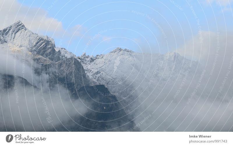 Hinter den Wolken ruhig Ferien & Urlaub & Reisen Freiheit Berge u. Gebirge wandern Klettern Bergsteigen Luft Himmel Schönes Wetter Felsen Alpen Gipfel