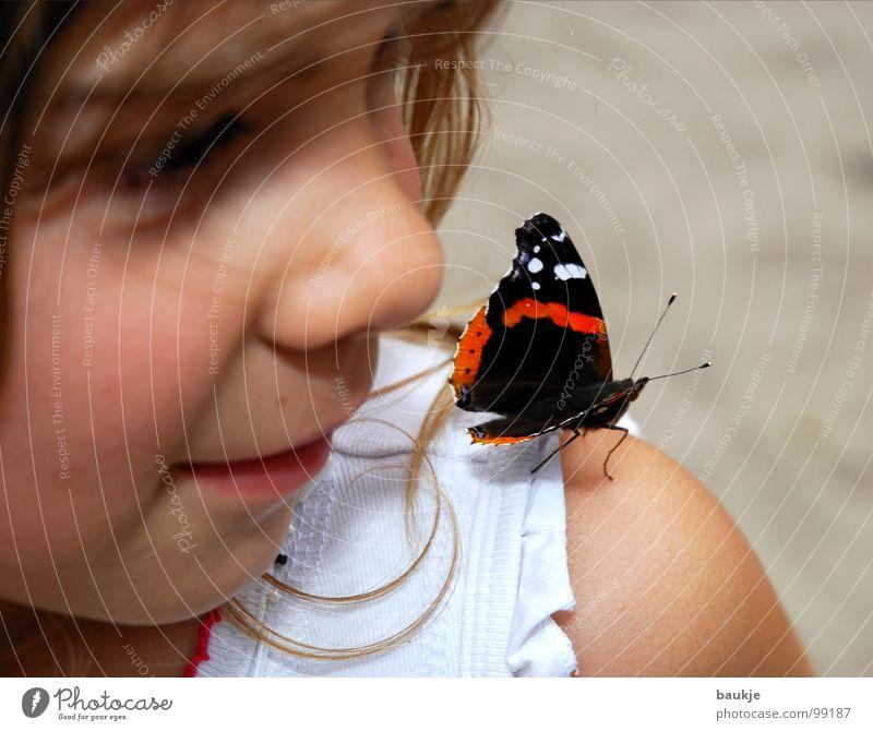 Die Schöne und das Biest Schmetterling Kind Tier Insekt mehrfarbig ruhig Mädchen verträumt Mut schön nah Erholung Vertrauen Sommer Liebe Sand Freude fliegen