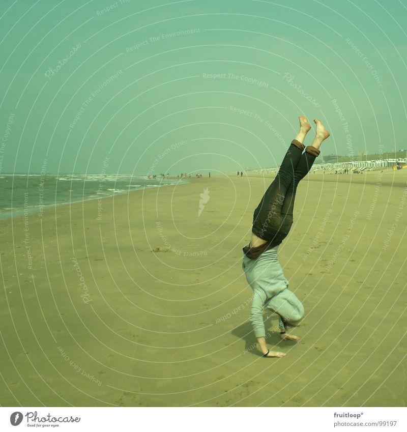vom Winde verweht Natur Strand ruhig Spielen Nordsee harmonisch Handstand