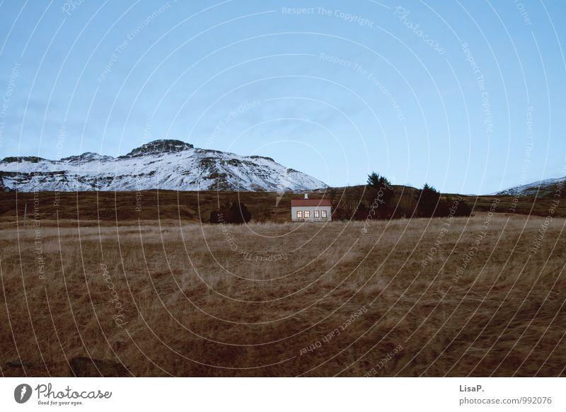 gemütlich blau Einsamkeit ruhig Haus Winter Berge u. Gebirge gelb Schnee Glück braun Wohnung Häusliches Leben wandern Abenteuer Island Fjord