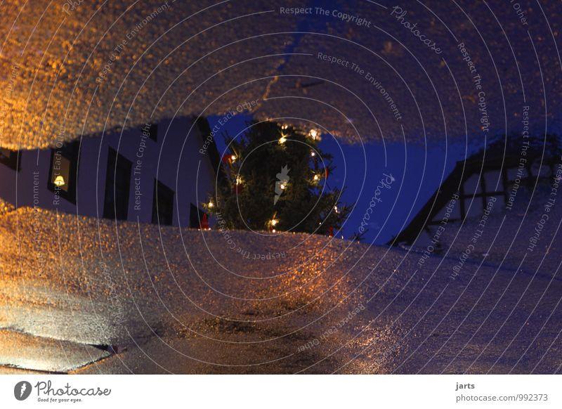 weihnachtsspiegelung Himmel Stadt Weihnachten & Advent Baum ruhig Haus Straße Wege & Pfade natürlich elegant Platz nass Hoffnung Glaube Gelassenheit