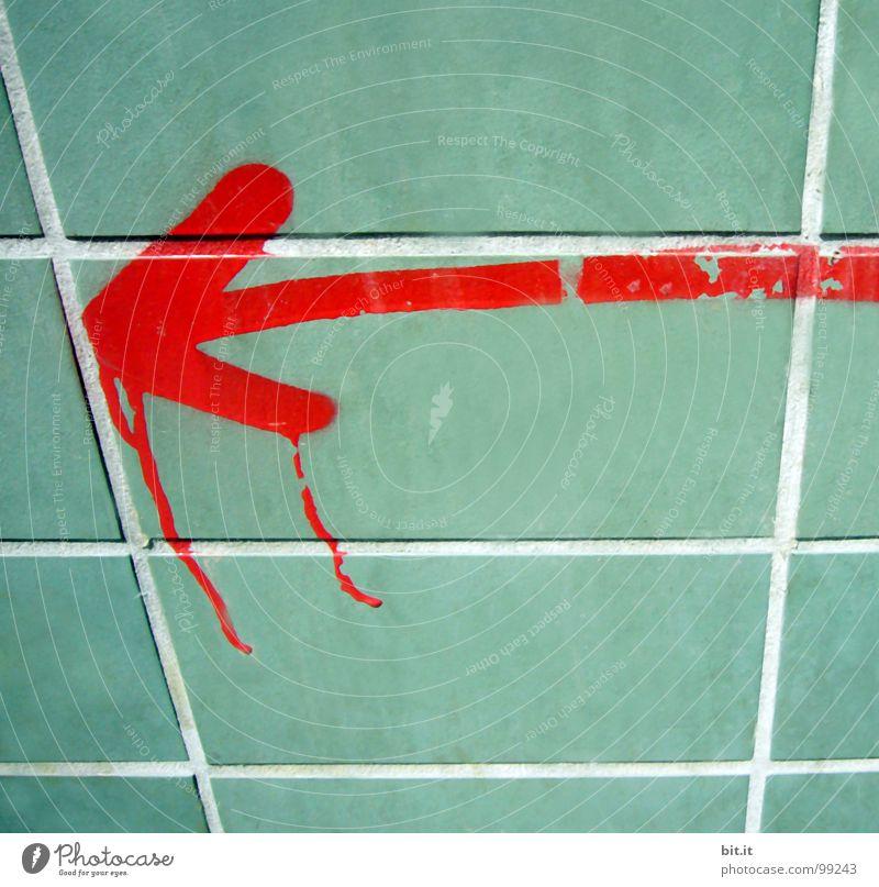 PFEIL OHNE BOGEN grün Baum rot Farbe Wand Hintergrundbild Schilder & Markierungen Beginn Baustelle Spitze Ziel Tropfen Grafik u. Illustration Pfeil