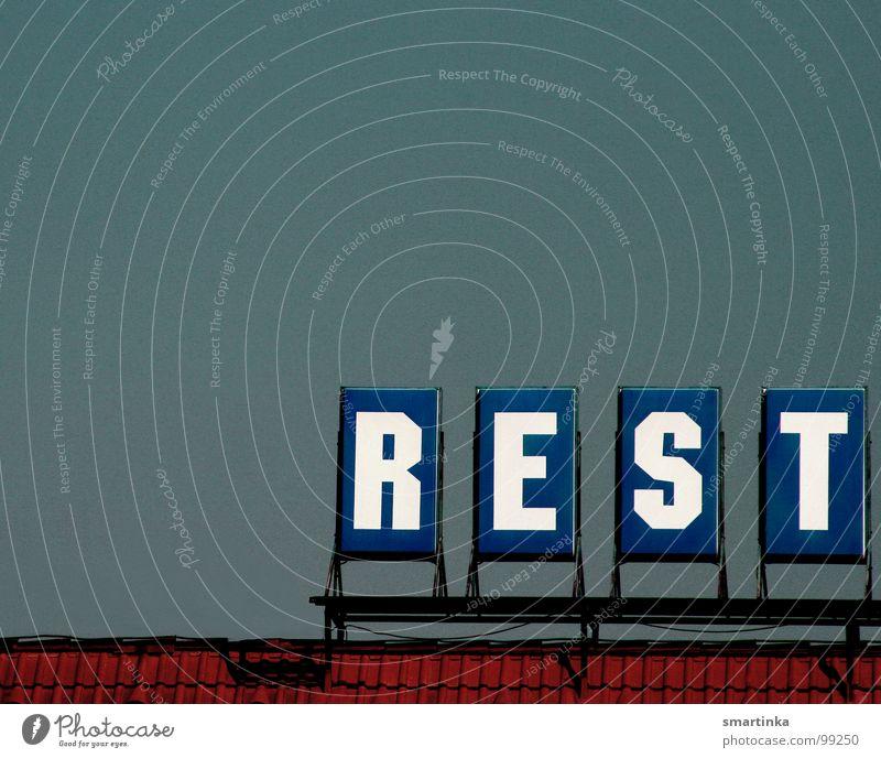 REST Himmel oben Schilder & Markierungen hoch Niveau Schriftzeichen Dach Buchstaben schreiben Restaurant obskur Typographie Symbole & Metaphern Beschriftung