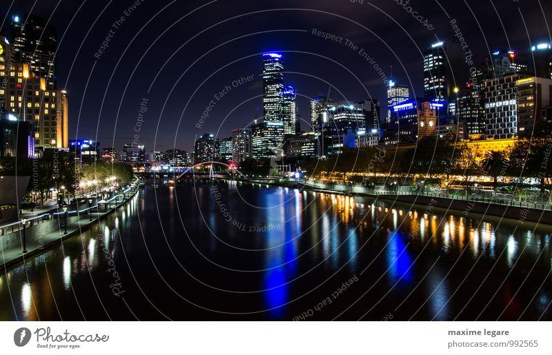 Melbourne, Australien Ferien & Urlaub & Reisen Tourismus Ausflug Freiheit Städtereise Expedition Nachtleben ausgehen Veranstaltung Wasser Nachthimmel Horizont