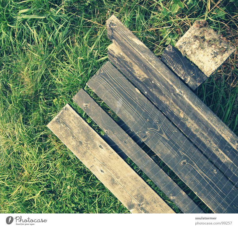 Bank Holz Vogelperspektive Gras Wiese grün braun Fußweg wandern Pause ruhig Erholung Aussicht Ferien & Urlaub & Reisen stehen Frieden Möbel Rasen Stein sitzen
