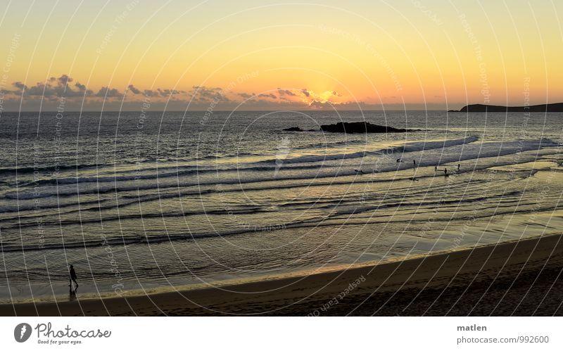 I´m walking... Sommer Strand Meer Wellen wandern Wassersport Mensch 1 Menschengruppe Himmel Horizont Sonnenaufgang Sonnenuntergang Wetter Schönes Wetter Küste