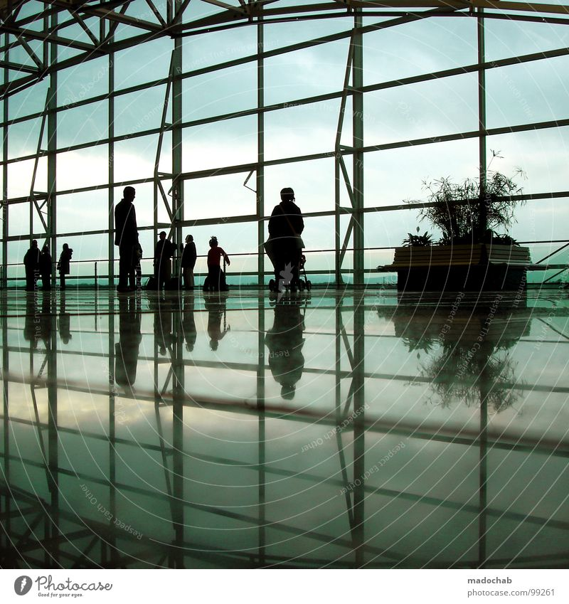 TWILIGHT ZONE Frau Mensch Himmel blau Pflanze Erholung Menschengruppe Gebäude Glas warten stehen Pause Bank Kommunizieren Sauberkeit