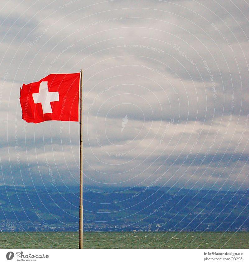 Blick in die Schweiz grün blau rot Wolken Farbe Küste Wind Rücken Europa Fahne Strommast Bodensee Schweizer flattern Friedrichshafen