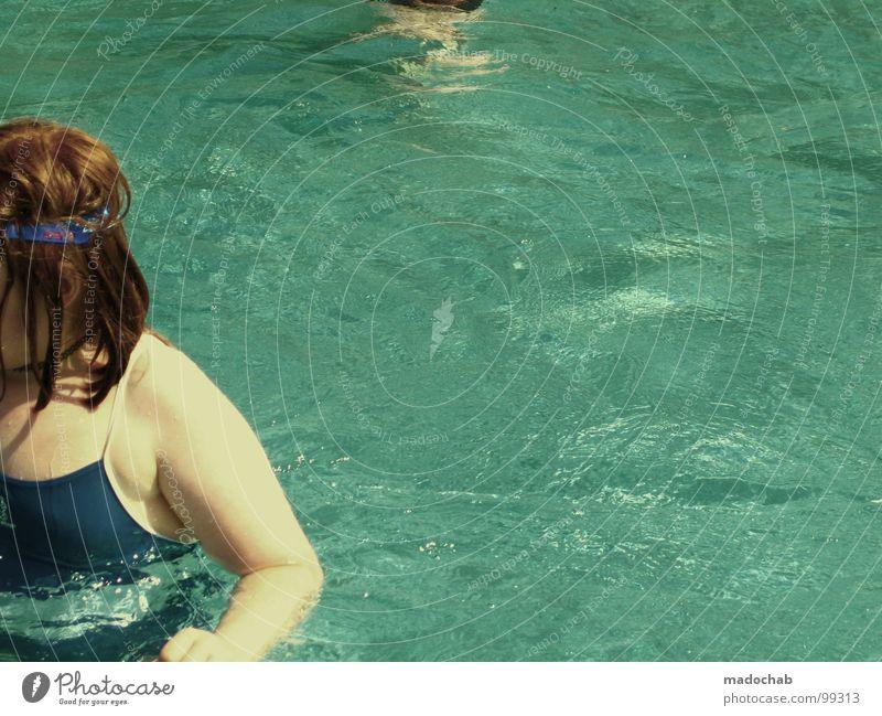POOLLANDSCHAFT Jugendliche rot rothaarig Retro-Trash Schwimmbad Hand Badeanzug nass Siebziger Jahre retro Freizeit & Hobby Ferien & Urlaub & Reisen Sommer