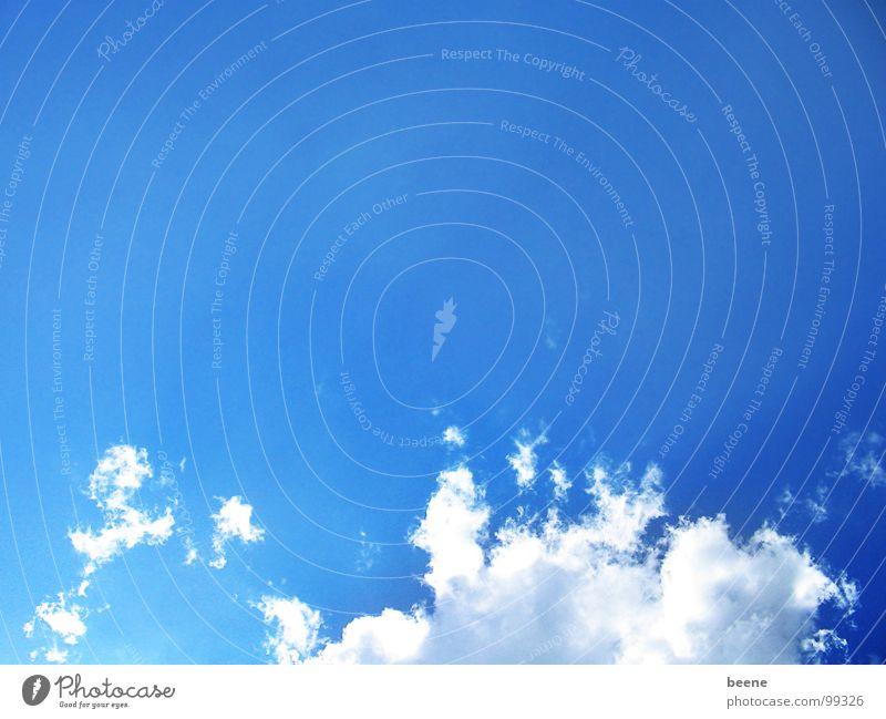 WeißBlau Wolken weiß Schönes Wetter Luft Himmel Ferne Bayern Unendlichkeit Unbekümmertheit Gute Laune Freundlichkeit Sommer sommerlich Blauer Himmel