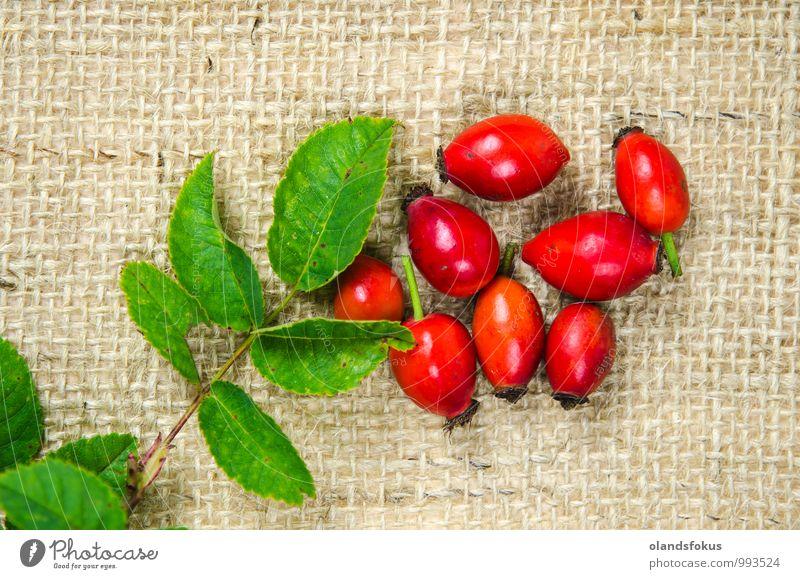 Hagebuttenbeeren Gemüse Vegetarische Ernährung Diät Tee Design Tisch Natur Pflanze Blatt frisch natürlich wild grün rot Tradition Antioxidans Beeren Sackleinen
