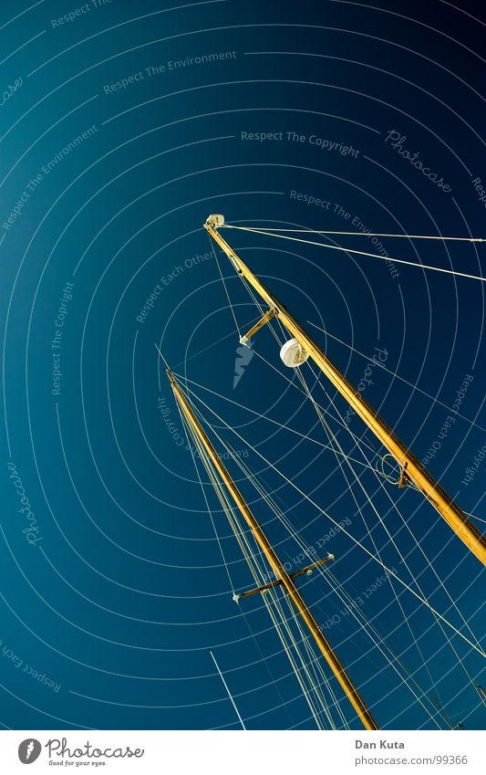 Mast-Betrieb blau weiß Baum Sommer Ferien & Urlaub & Reisen gelb Freiheit See Lampe hell Wasserfahrzeug Wind Beleuchtung Seil Insel Elektrizität