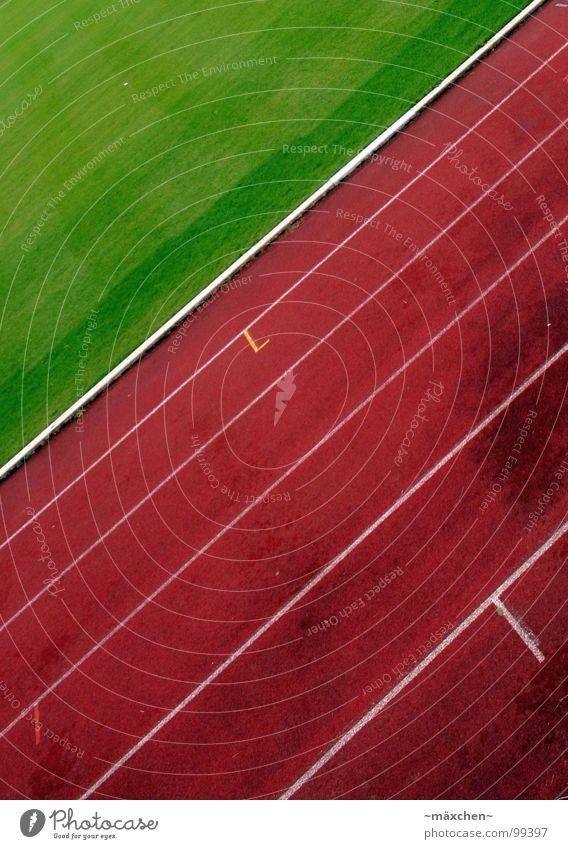 Loooos! II Rennbahn Stadion Leichtathletik rot grün weiß Spuren Kurvenlage 100 Meter Lauf Joggen Ausdauer Niederlage Prämie Sport Spielen go laufen run Linie