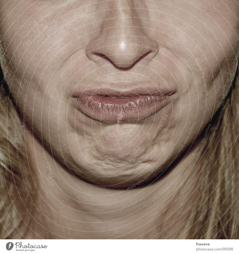 schmollbirgit Frau Mensch Gesicht Gefühle Haare & Frisuren Mund hell lustig Haut blond Nase Lippen Wut Junge Frau Schmollmund schmollen