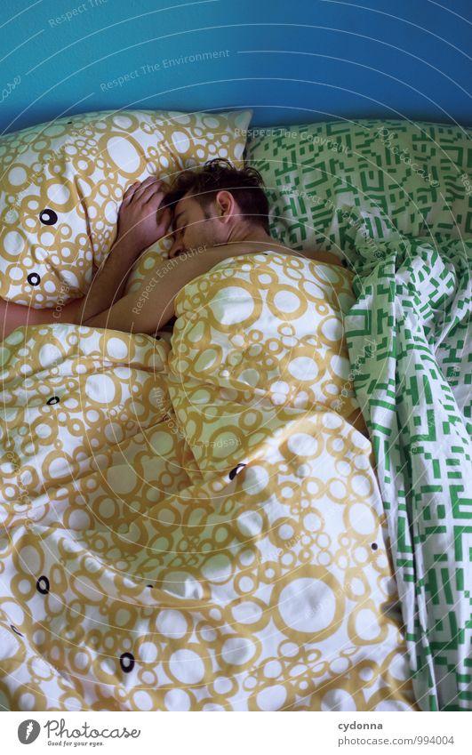 Schlafphase Mensch Jugendliche Erholung ruhig Junger Mann 18-30 Jahre Erwachsene Leben Gesundheit träumen Freizeit & Hobby schlafen Pause Bett Bettwäsche