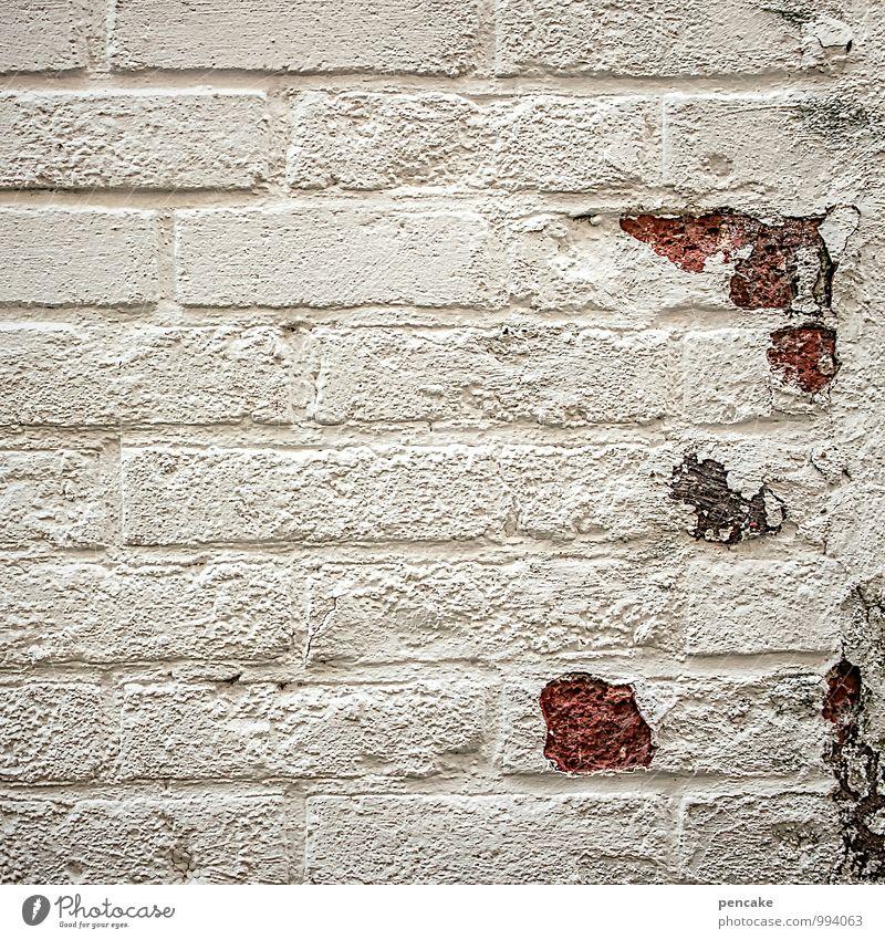 putzig Altstadt Haus Mauer Wand Fassade Stein einzigartig Verfall Backstein weiß verputzt niedlich Frühjahrsputz Frühling abblättern Kalk Farbfoto
