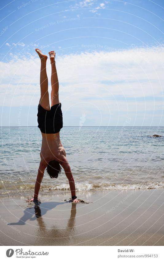 außergewöhnlich | Körperspannung Mensch Ferien & Urlaub & Reisen Jugendliche Mann Erholung Meer ruhig Junger Mann 18-30 Jahre Strand Erwachsene Leben Sport
