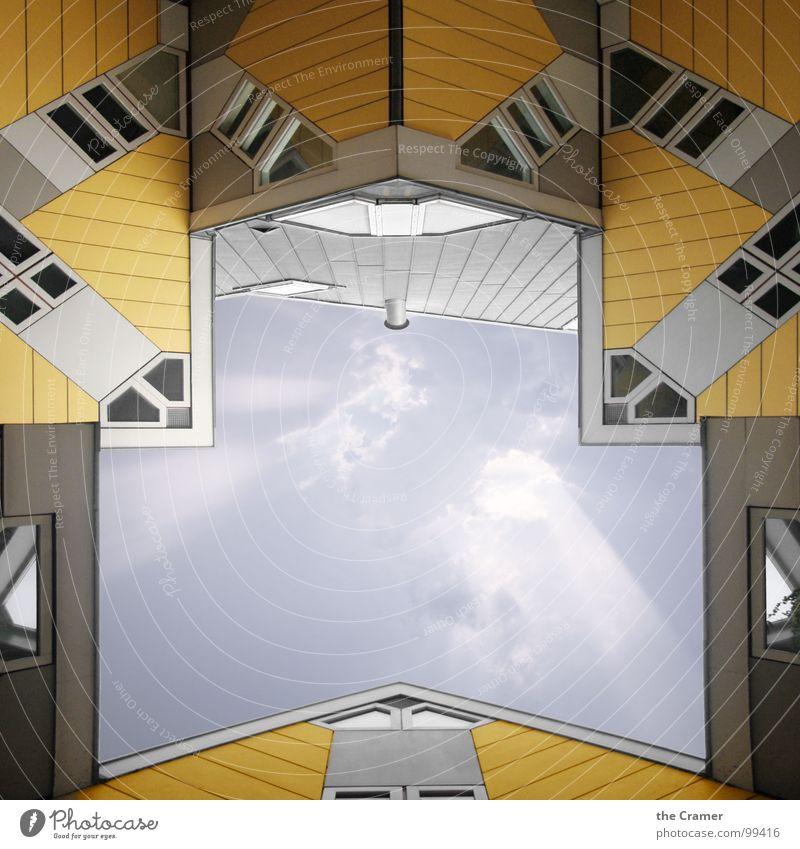 Kubushaus, Rotterdam Himmel Haus Wolken gelb Fenster Niederlande modern Dach Denkmal Wahrzeichen Dachgiebel