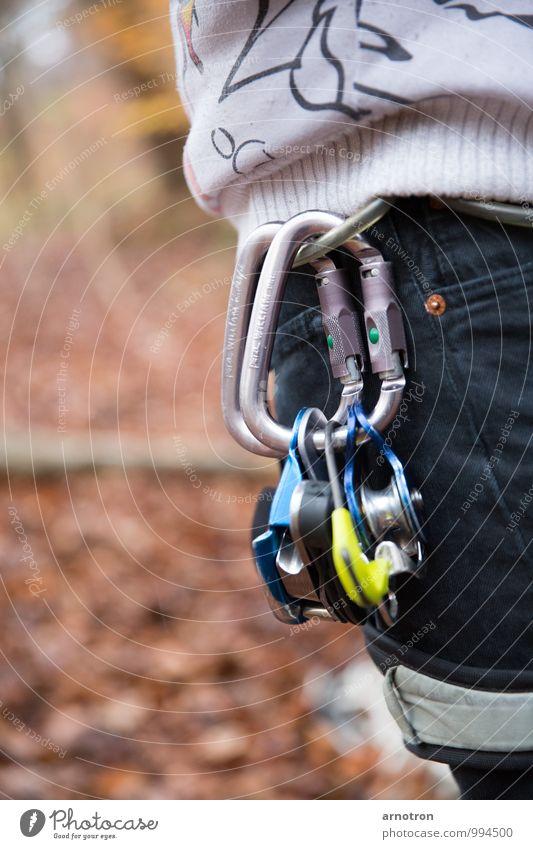Sicher Klettern Mensch maskulin Hüfte 1 Wald Metall fest Sicherheit Schutz Höhenangst Karabiner Umlenkrollen Sicherungsautomat Kletterausrüstung Farbfoto