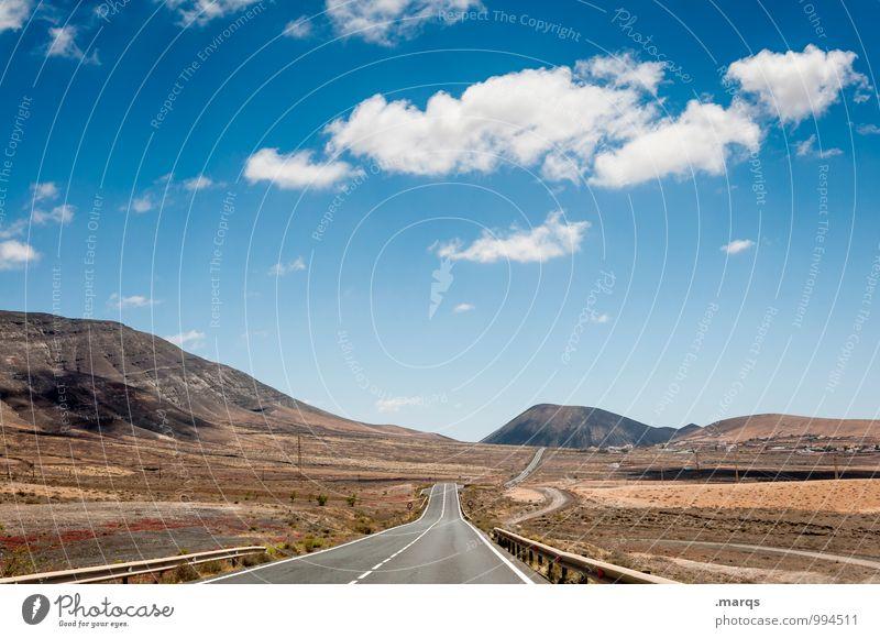 Auf und davon Ferien & Urlaub & Reisen Abenteuer Ferne Freiheit Natur Landschaft Erde Himmel Wolken Horizont Schönes Wetter Hügel Verkehr Straße entdecken