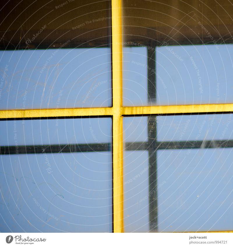 doppel plus blau Farbe Ferne Fenster gelb Linie hell Design Glas paarweise Vergänglichkeit retro Schutz planen dünn Wolkenloser Himmel