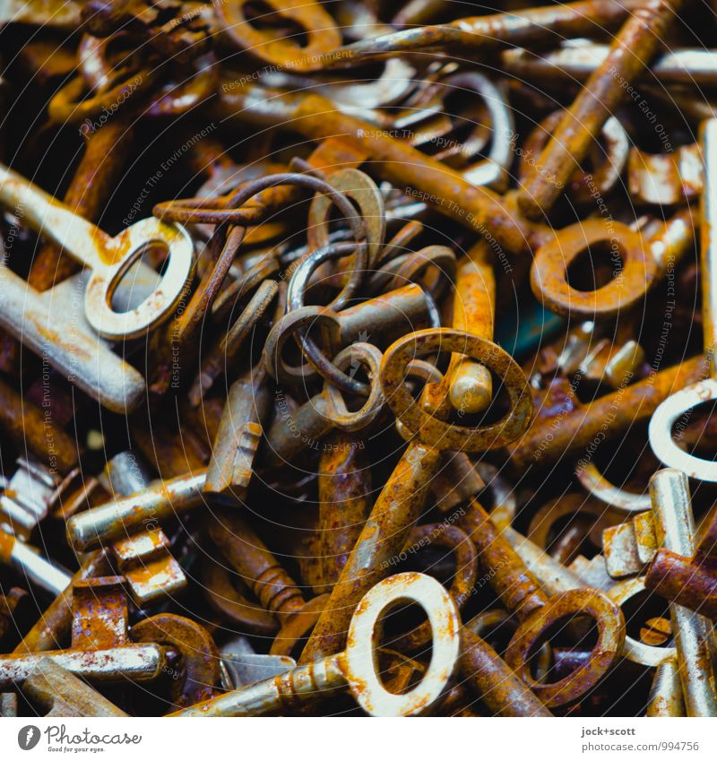 Verschlüsselung sparen Kunsthandwerk Sammlung Schlüssel Metall Rost Linie verschlüsselt Oval wählen authentisch historisch Originalität retro viele braun Erfolg