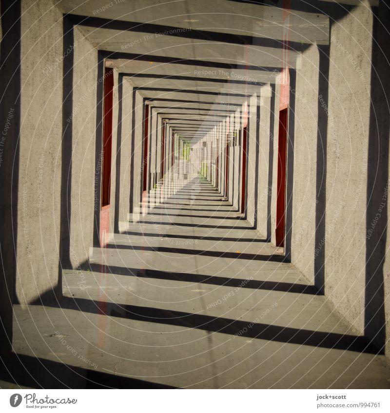 Tunnelblick Stil Architektur Quadrat eckig fantastisch Einigkeit Inspiration komplex Mittelpunkt Surrealismus Irritation Wege & Pfade Illusion