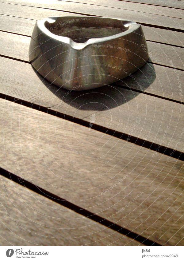 aschenbecher_01 braun Häusliches Leben silber Aschenbecher Edelstahl Teak Gartentisch