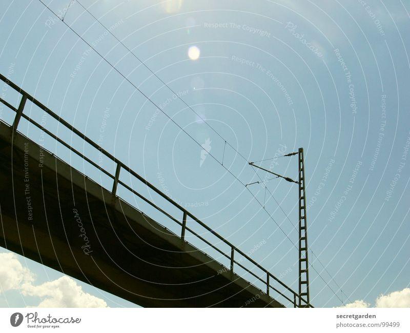 brücke ohne wolke Himmel Sonne Wolken hell Raum hoch modern Elektrizität Eisenbahn Brücke fahren Technik & Technologie Industriefotografie Niveau Schönes Wetter