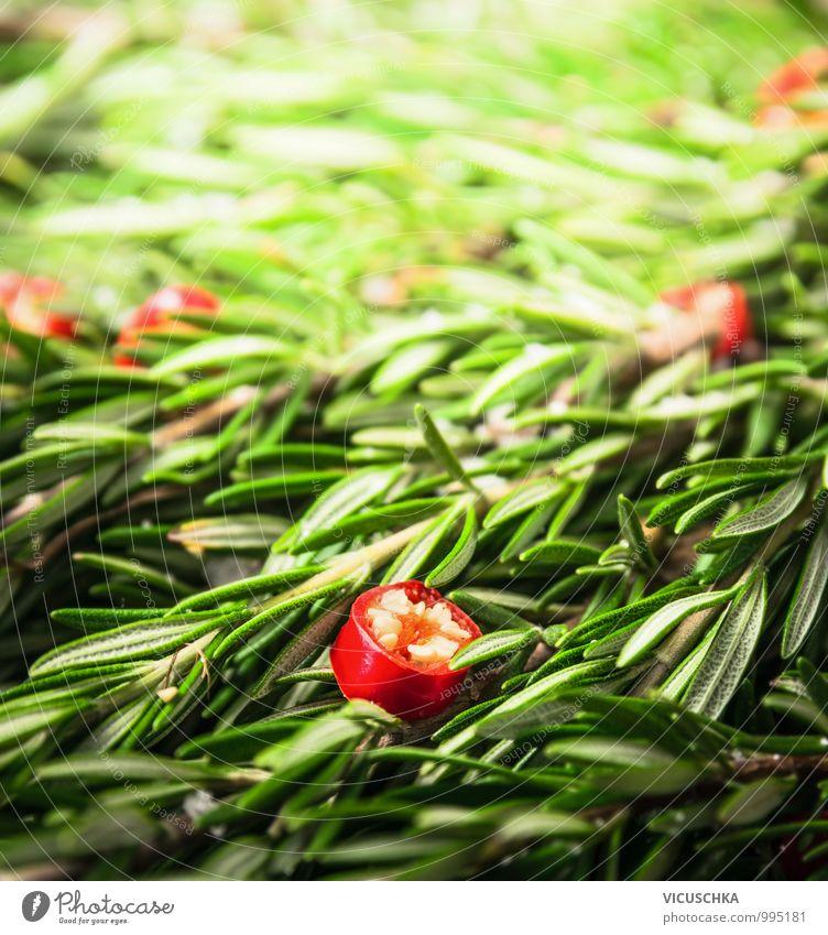 Rosmarin und gehackter Chili Lebensmittel Kräuter & Gewürze Bioprodukte Vegetarische Ernährung Diät Stil Design Alternativmedizin Gesunde Ernährung Garten Küche