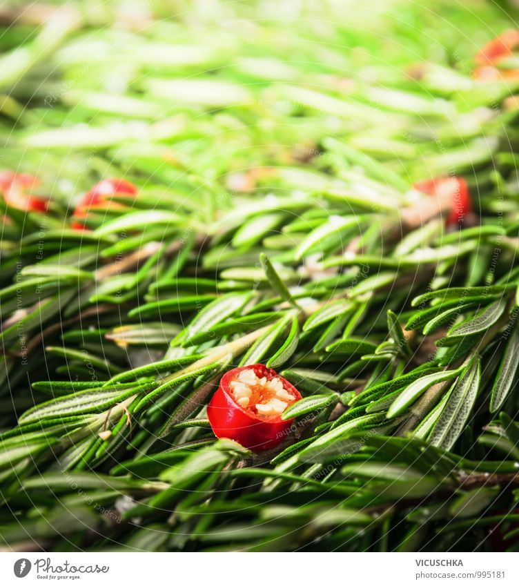 Rosmarin und gehackter Chili Natur Gesunde Ernährung Leben Stil Hintergrundbild Garten Lebensmittel Foodfotografie Design Scharfer Geschmack
