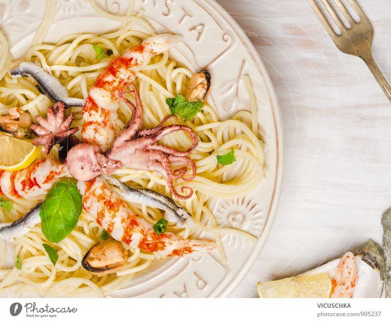 Meeresfrüchte Spaghetti Lebensmittel Fisch Kräuter & Gewürze Ernährung Mittagessen Festessen Bioprodukte Vegetarische Ernährung Diät Italienische Küche Teller