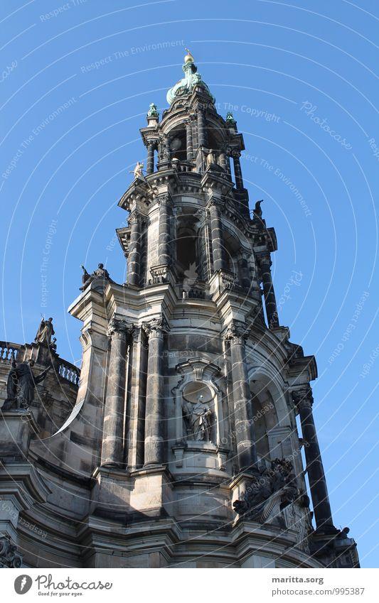 Kirchenarchitektur Turm Dresden Stadt Altstadt Architektur Fassade Sehenswürdigkeit einzigartig Kultur Kunst Ferien & Urlaub & Reisen Tourismus Farbfoto