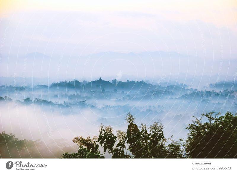 Borobudur-Tempel bei Sonnenaufgang, Yogyakarta, Indonesien schön Meditation Ferien & Urlaub & Reisen Ferne Landschaft Himmel Wolken Nebel Wald Urwald Vulkan