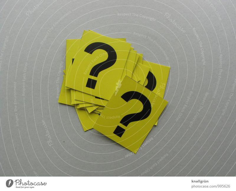 Auf der Suche nach Antworten Zeichen Schriftzeichen Schilder & Markierungen Kommunizieren eckig Neugier gelb grau schwarz Gefühle geheimnisvoll Rätsel