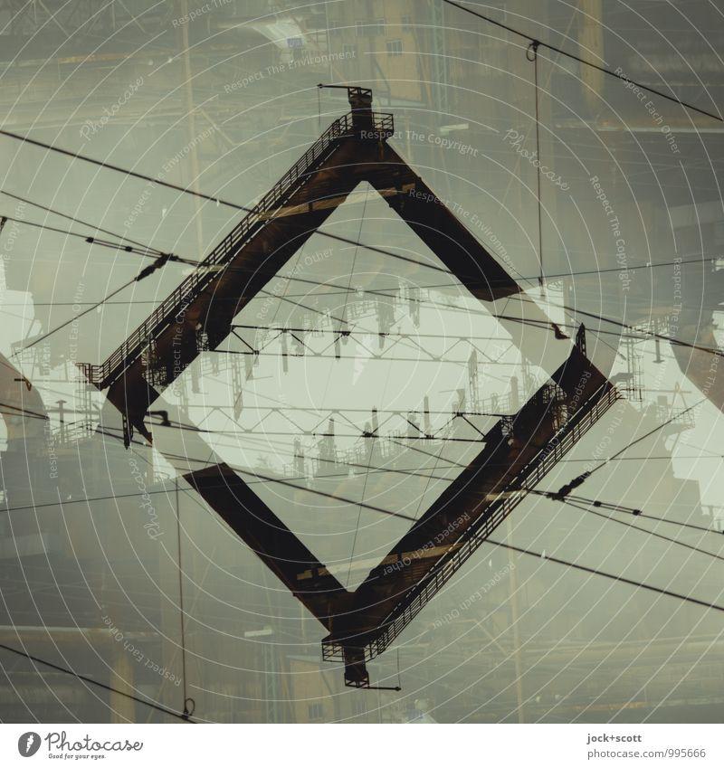 Stahlrohr im Quadrat Kraft geschlossen fantastisch Netzwerk Denkmal Irritation Sehenswürdigkeit eckig skurril Surrealismus Doppelbelichtung Rahmen Comic Stolz