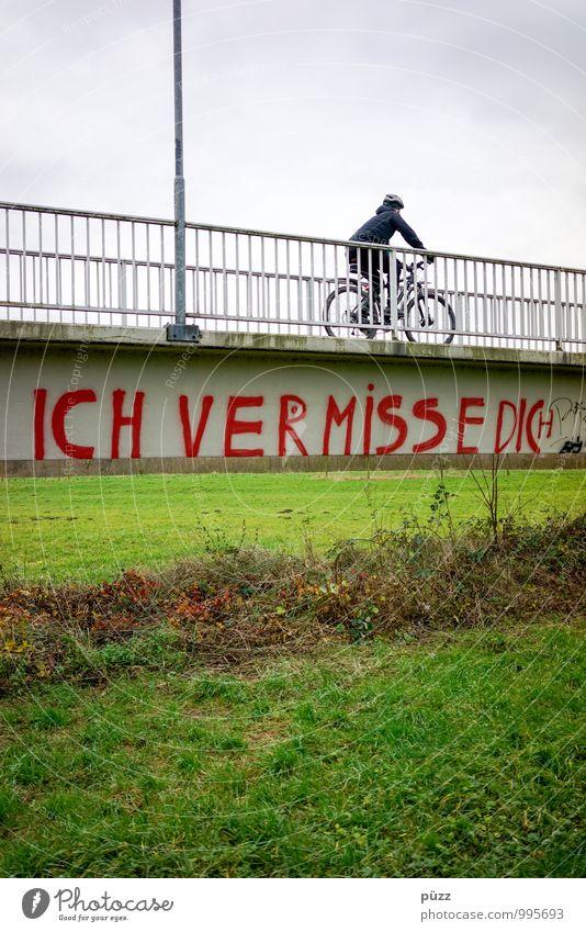 Ich vermisse Dich Sport Fahrradfahren Mensch Leben 1 Stadtrand Brücke Verkehr Verkehrsmittel Wege & Pfade Stein Schriftzeichen Graffiti Traurigkeit trist grau