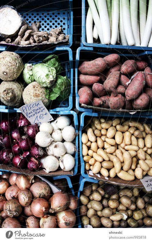 Gemüse Lebensmittel Kartoffeln Zwiebel Sellerie Ingwer Porree Süßkartoffel Ernährung Bioprodukte Vegetarische Ernährung Slowfood genießen Gemüsehändler Farbfoto